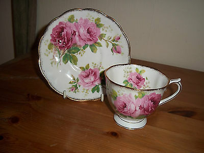 Royal Albert American Beauty bone china cup and saucer, used but good condition.