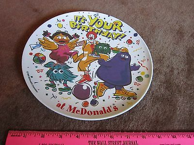 McDonalds Grimace, Birdie, Fry Guys, Ronald Birthday Plate Collectible FREE SHIP