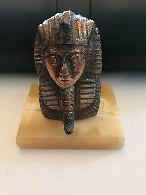 Ancient Egyptian Bronze Toned Metal Pharaoh Head Bust On Alabaster Base