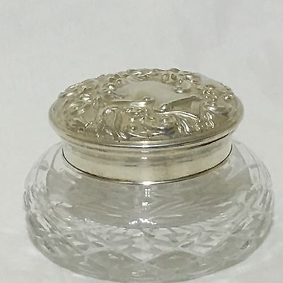 Sterling Silver HM Birmingham 1984 Cut Glass Powder Dressing Table Bowl Mirror
