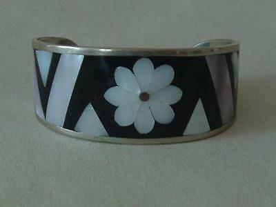 Silver & Mother of Pearl Abalone Inlay Cuff Bracelet Alpaca Mexico - beautiful
