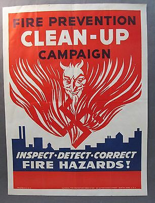 rare WWII home front FIRE PREVENTION CLEAN UP CAMPAIGN Devil Anti-Germany POSTER