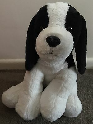"Cute 16"" Spaniel Dog By Keel Toys black and white teddy Soft Toy Plush"