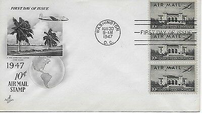 Scott #C34 - 1947 Airmail FDC with 3 stamps