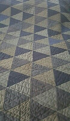 Vintage 1930-40's Handmade QUILT using Navy & Gray Men's Suit Fabric Drycleaned