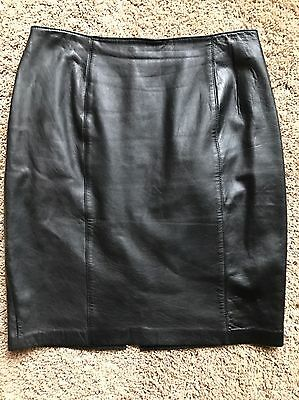 Vintage Suzelle Black Leather Pencil Skirt Lined Premium Soft Leather 10/12