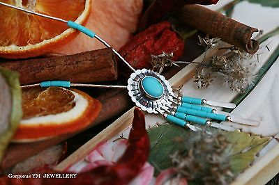 Navajo Style Turquoise 925 Sterling Silver Necklace And Pendant