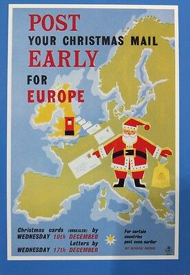 Post Early For Europe Poster Postal Museum Postcard From Collection K4