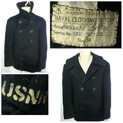 VINTAGE! WWII WW2 US Navy 10 Button Pea Coat Jacket NAVAL CLOTHING FACTORY-36/SM