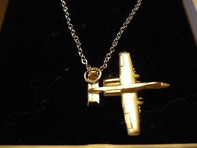 """USAF A-10 Thunderbolt Tank Buster C131 Pewter On A 16"""" Silver Plated Curb Chain"""