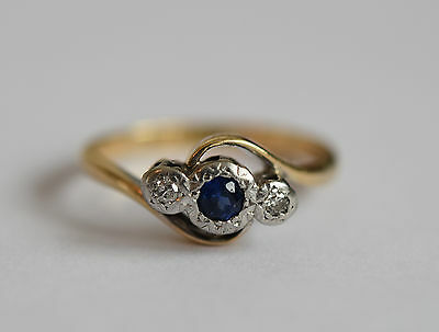 Art Deco 18ct gold and Platinum Sapphire and diamond engagement ring