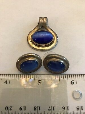 Sterling Silver Necklace Pendant & Matching Earring Set- Vibrant Blue Stone