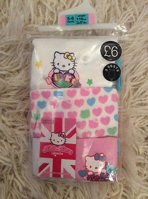 M&S Girls Hello Kitty 3 Pack Vests. Age 5-6. Brand New Still Packed.