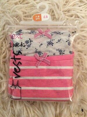 Next Girls 2 Pack Of Cami Vests 1 Stripe, 1 Floral. Age 7-8. Brand New.