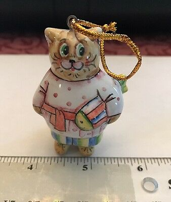 Russian Hand Painted Porcelain Anthropomorphic Cat With Fish Ornament Figure