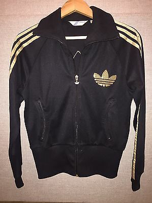 Limited Edition Woman Adidas Jacket In Black And Gold With Sequin Logos Size 14