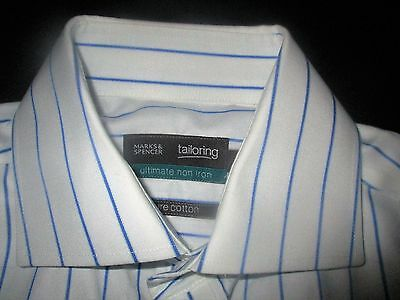 "Top Quality, Stylish,pure Cotton,double Cuff,crisp City Shirt,m&s 15"".ex Con"
