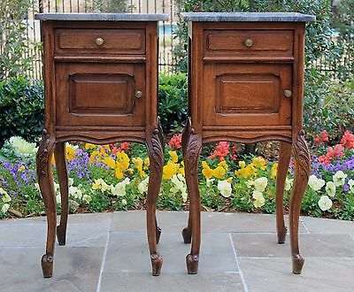 Antique French Oak Marble Top Cabinets Nightstands End Tables Louis XV PAIR