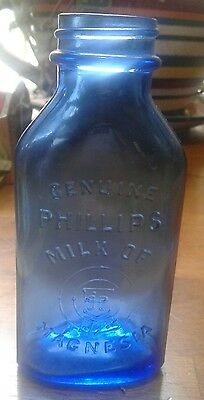 Vintage Milk of Magnesia Blue Glass Bottle