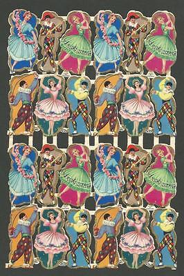 P14 - Dancers Mp 992 - Gold Highlights - Vintage Mamelok Press Scraps Sheet