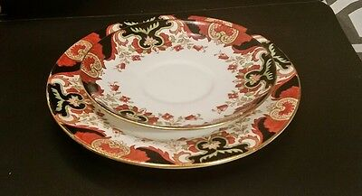 Rare Aynsley China Red & Blue Tea Side Plate and saucer