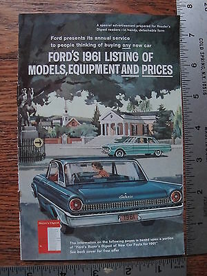 Original 1961 61 Ford Falcon Fairlane 500 Galaxie Dealer Sale Full Line Brochure