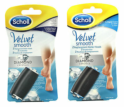Scholl Velvet Smooth Diamond Crystals 2 Replacement Roller Heads x 2 Packs