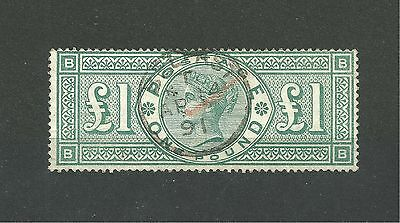 """GB QV SG212 £1 green with excellent """"Belfast"""" thimble CDS VFU Cat £800-1200"""