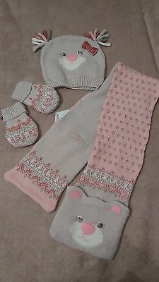 mayoral girls hat scarf and mittens set age 2 years