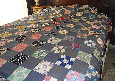 "large 71"" x 80"" vintage hand pieced quilt top 1940's"