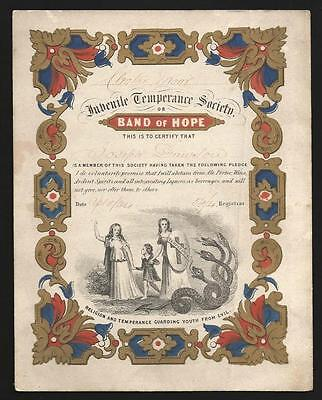 P53 - Victorian - Juvenile Temperance Society - Band Of Hope Certificate - 1864