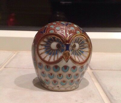 Vintage Chinese Cloisonne Owl Figure  5.5 Cms Tall