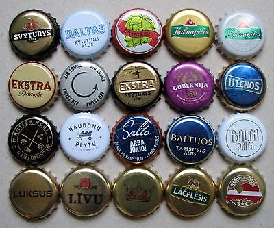 20 Different Beer Bottle Caps Lithuania and Latvia