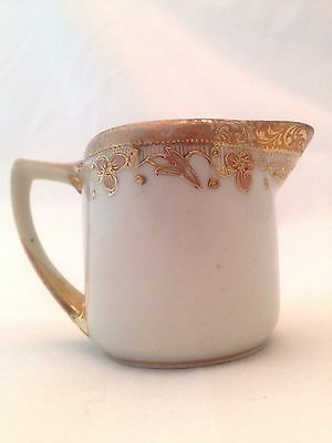 Japanese Gold Trim Creamer Porcelain Hand Painted Signed Nippon Morimura