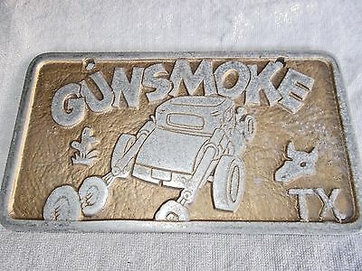 car club plaque Gunsmoke TX Skull Aluminum Olds Buick Ford Caddy Chevy 1932 Coup