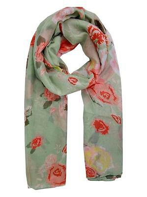 New Women Ladies lightweight woven fabric Green Floral Print Scarf wrap shawl