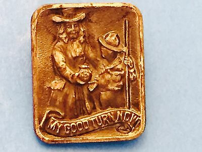 Boy Scout My Good Turn Now Pin W&M Co, Newark NJ Scout With Quaker