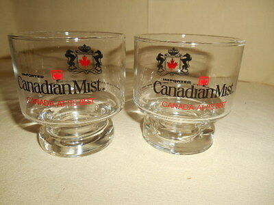Nos Pair Of Canadian Mist Whiskey On The Rocks Glass - Canada At Its Best