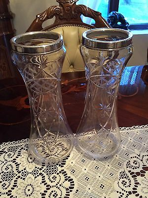 Pair Of Silver Rimmed Cut Glass Large Vases