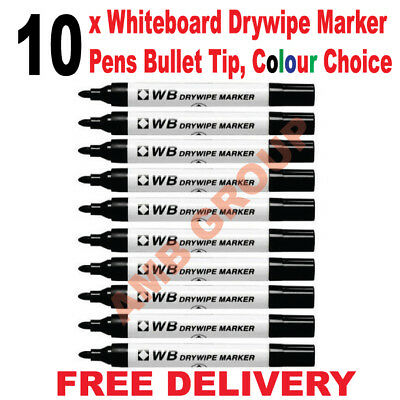 10 x Whiteboard Drywipe Marker Pens Bullet Tip,  Black Red Blue Green Assorted