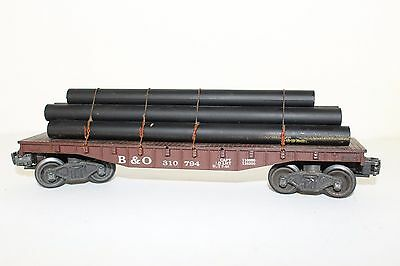 Vintage Lionel 310794 B&O Flat Car w/ Pipes and Tie Downs