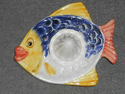 Vintage Portugal Reamer Juicer Ceramic Fish Hand Painted
