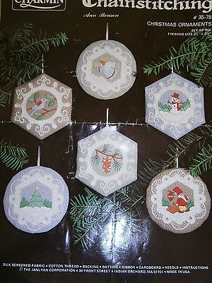 Embroidery Chainstitching Christmas Ornaments x 6  Kit Made in the USA