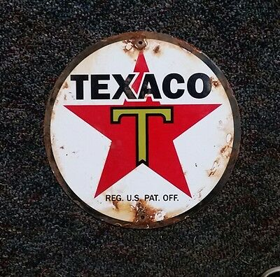 Texaco Porcelain Gas Pump Plate Sign, Dated 3-9-41 Eight In.