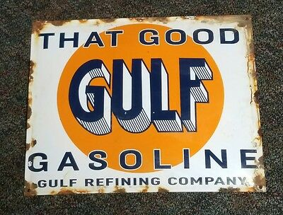 Porcelain Advertising Display Sign That Good Gulf Gasoline Gas Station Sign