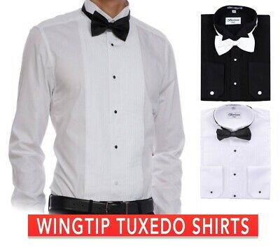 3985fab24a4 Berlioni Men s Tuxedo Wing Tip Dress Shirt With Bowtie In Black And White