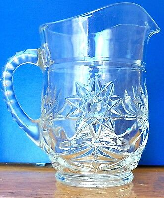 Fine Clear Glass Pitcher With Pinwheel Designs Diamond Shapes & Indented Handle