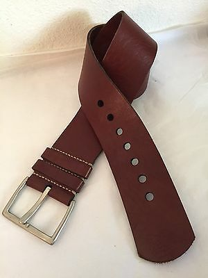 Johnny Farah Women's L Brown Leather Wide Belt Fits 34.5-40.5""