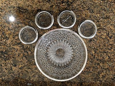1883 F. B. Rogers Silver Co. Sterling Silver /glass Coasters Set Of 4 Antique