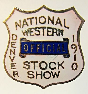 1910 DENVER NATIONAL WESTERN STOCK SHOW enamel inlay collar stud +